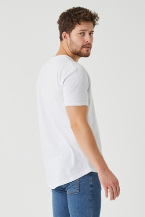 Tarz Cool Erkek Beyaz Pis Yaka Salaş T-shirt 4