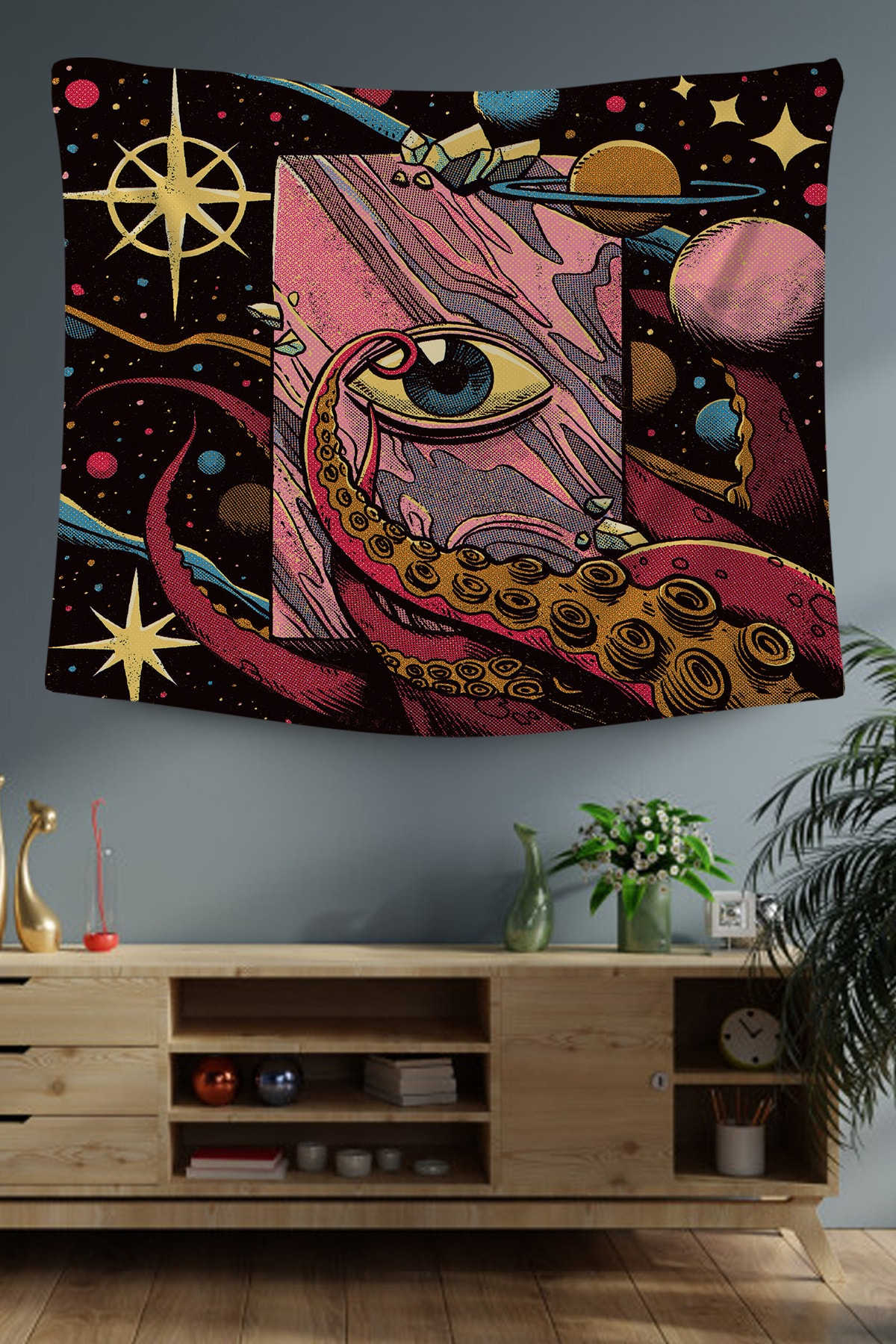 Siyah Galaksi Dekoratif Duvar Örtüsü 70x100