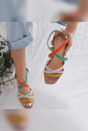 Limoya Kadın Malaya Yeşil Portakal Ten Hardal Süet Multi Alçak Topuklu Sandalet 2