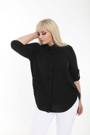 Şirin Butik Kadın Siyah Büyük Beden Gömlek 1