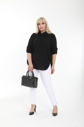 Şirin Butik Kadın Siyah Büyük Beden Gömlek 2