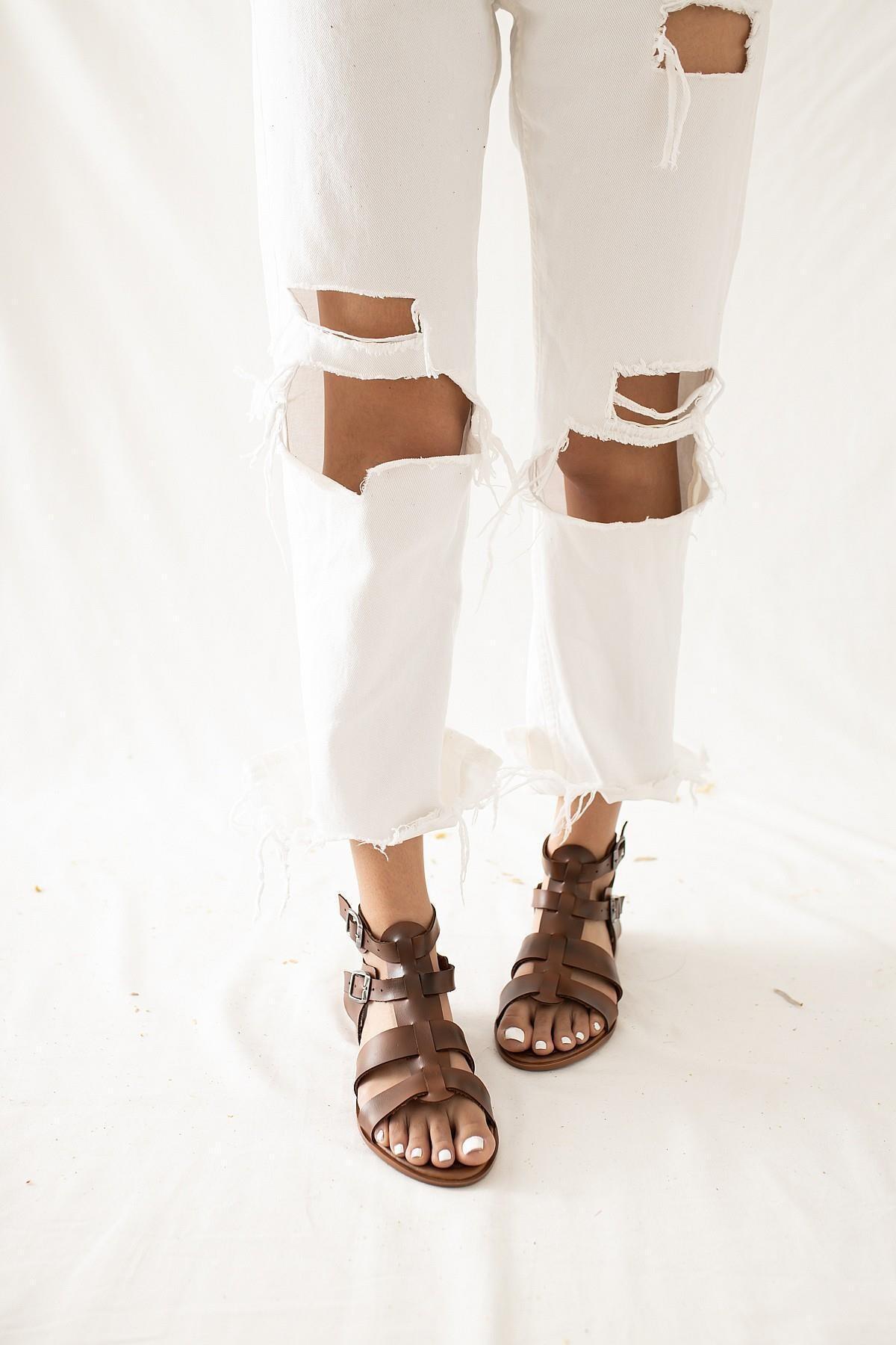 Limoya Kadın Taba Hakiki Deri Kafesli Ayarlanabilir Sandalet
