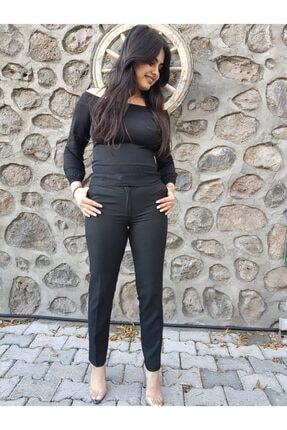 Kadın Siyah Bilek Boy Kumaş Pantolon FERO0000576