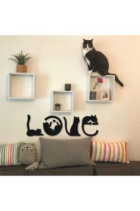 Hellove Kedi Tablosu Love Duvar Yazısı Dekoratif Tablo Ahşap Duvar Tablosu 1