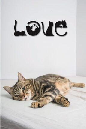 Hellove Kedi Tablosu Love Duvar Yazısı Dekoratif Tablo Ahşap Duvar Tablosu 3