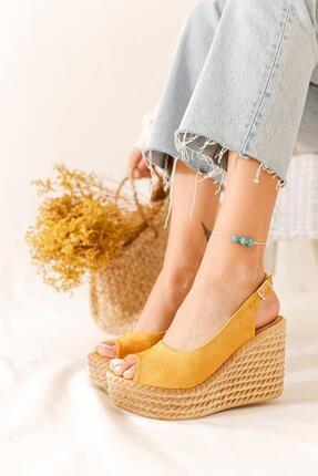 Limoya Kadın Hardal Süet Dolgu Topuklu Sandalet 0