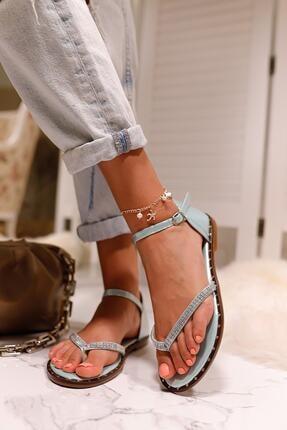 Limoya Kadın Su Yeşili Gümüş Taşlı Parmak Arası Sandalet 2