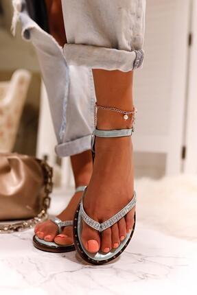 Limoya Kadın Su Yeşili Gümüş Taşlı Parmak Arası Sandalet 3