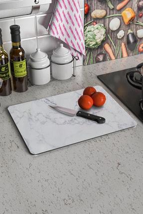Decovetro Beyaz Mermer Görünümlü | Cam Kesme Tahtası - Kesim Tablası | 30cm X 40cm 1