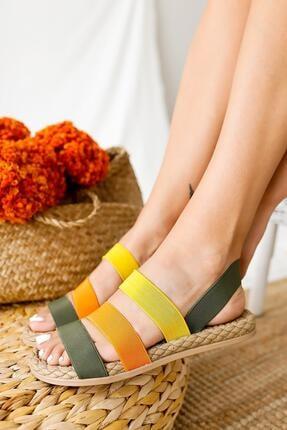 Limoya Kadın Yeşil Limon Portakal Lastik Sandalet 1