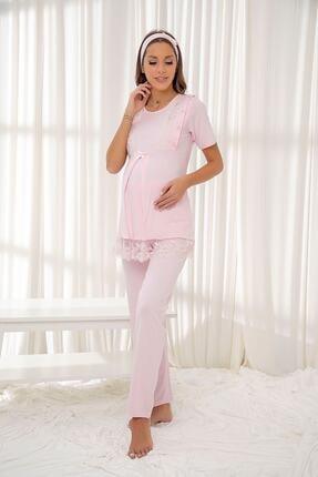 Siyah İnci Pembe Dantelli Düğmeli Modal Hamile Pijama Takım Bandana Hediyeli 0