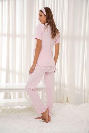 Siyah İnci Pembe Dantelli Düğmeli Modal Hamile Pijama Takım Bandana Hediyeli 1