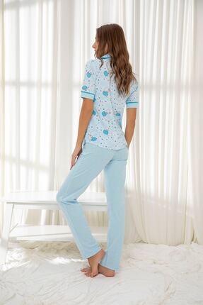 Siyah İnci Mavi Hamile Pamuklu Düğmeli Biyeli Pijama Takım 1