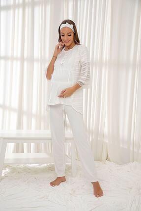 Picture of Ekru 3'lü Sabahlıklı Dantelli Düğmeli Modal Hamile Pijama Takım Bandana Hediyeli