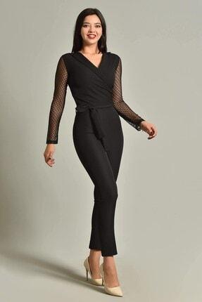 Modakapimda Kadın Siyah Kolları Tül Tasarım Tulum 1453MKSP 1
