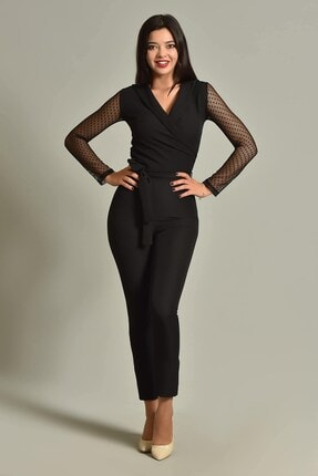 Modakapimda Kadın Siyah Kolları Tül Tasarım Tulum 1453MKSP 2