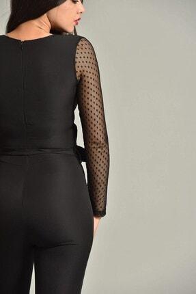 Modakapimda Kadın Siyah Kolları Tül Tasarım Tulum 1453MKSP 4