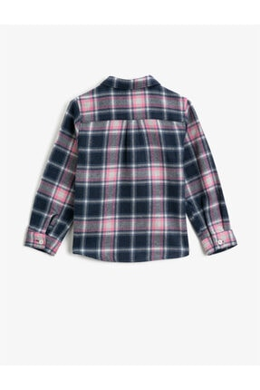 Koton Kız Çocuk Gri Cepli Ekoseli Uzun Kollu Klasik Yaka Gömlek 1