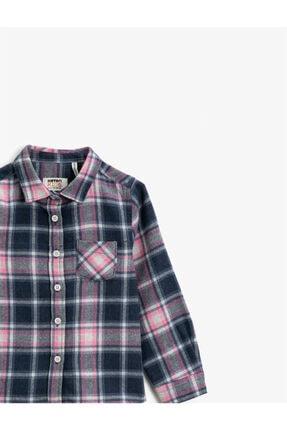 Koton Kız Çocuk Gri Cepli Ekoseli Uzun Kollu Klasik Yaka Gömlek 2