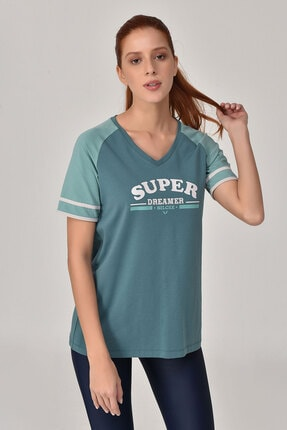 bilcee Turkuaz Kadın T-Shirt GS-8616 2