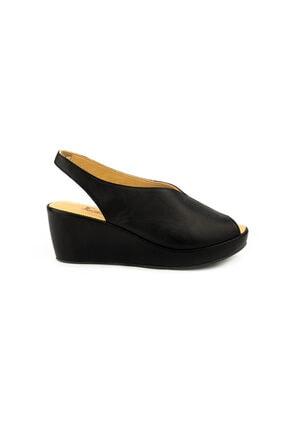 Emel Ayakkabı Kadın Siyah Ortopedik Yumusak Yazlık Sandalet 1