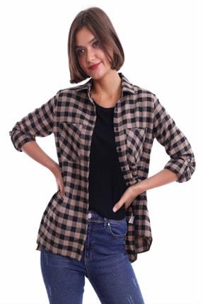 Sorgentem Kadın Kahverengi Ekose Gömlek 2