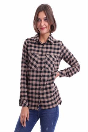 Sorgentem Kadın Kahverengi Ekose Gömlek 3