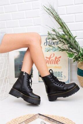 Öncerler Ayakkabı Kadın Siyah Cilt Kalın Taban Bot 0