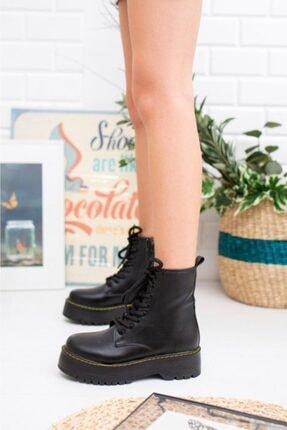 Öncerler Ayakkabı Kadın Siyah Cilt Kalın Taban Bot 2