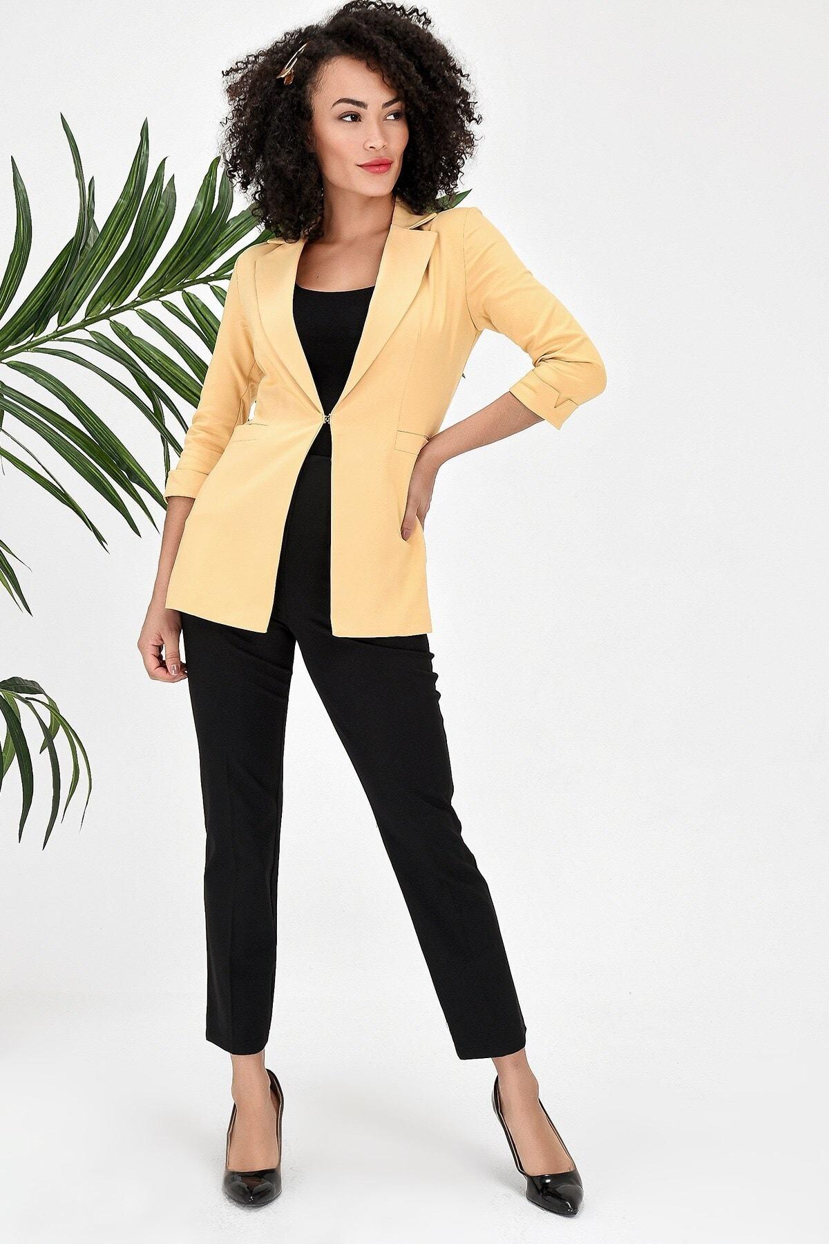Kapri Truvakar Kol Süs Cepli Kopçalı Ofis Blazer Kumaş Ceket-sarı