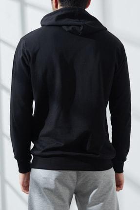 North London Erkek Siyah  Üç Iplik Jordan Baskılı Kapüşonlu Sweatshirt 3