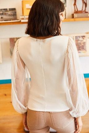 Olalook Kadın Ekru Kolu Tül V Yaka Örme Bluz BLZ-19001192 4