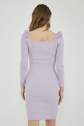 Sateen Kadın Lila Büzgülü Uzun Kol Kare Yaka Elbise  STN769KEL101 4