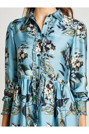 Vekem Kadın Mavi Gömlek Yaka Çiçek Desenli Elbise 3