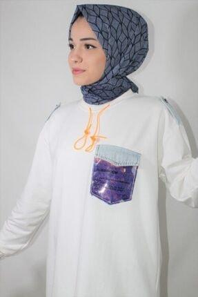 Loreen Kadın Beyaz Pul Cep Detay Soul Sweatshirt 2