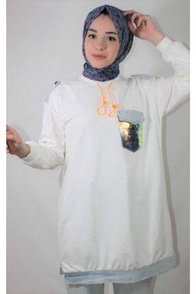 Loreen Kadın Beyaz Pul Cep Detay Soul Sweatshirt 3