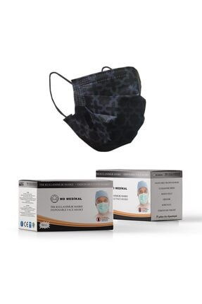 MD Medikal 3 Katlı Siyah Desenli Telli Cerrahi Maske 50 Adet-2'li 0