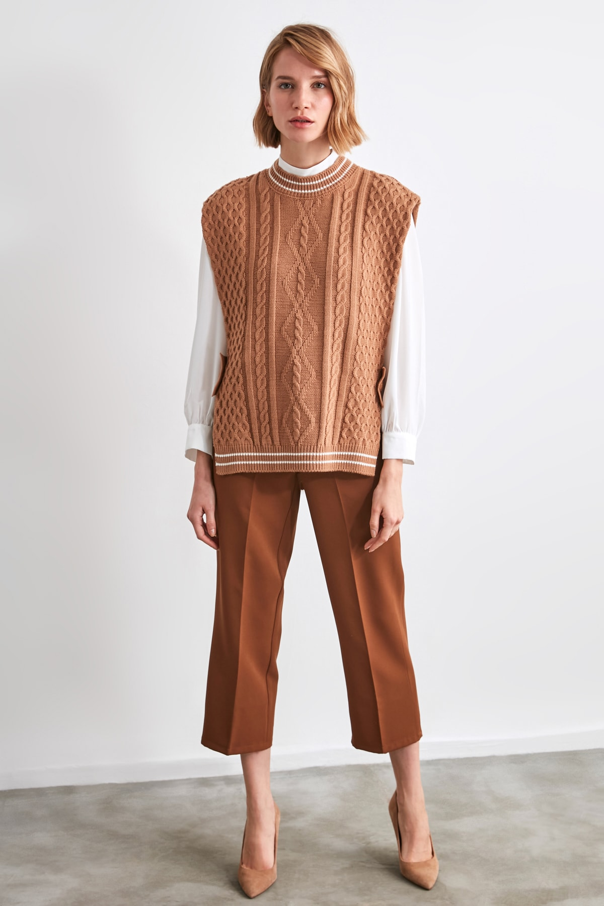 TRENDYOLMİLLA Camel Örgü Detaylı Triko Süveter Bluz TWOAW21BZ0012