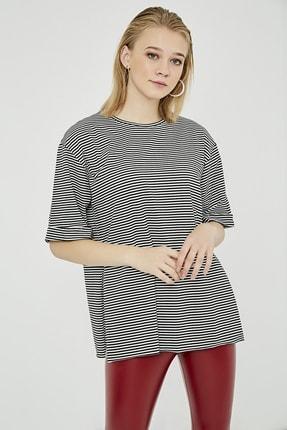 Sateen Kadın Siyah Çizgili Yırtmaçlı Uzun Tshirt 2