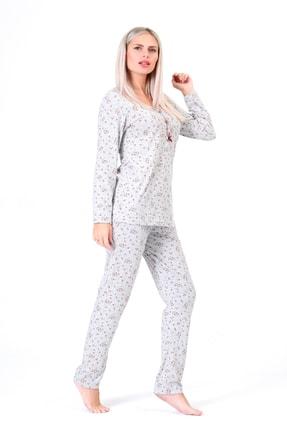 Pijama Denizi Dört Mevsimlik Düğmeli Pijama Takımı Bordo Çiçek Desen Gri Pamuk 1