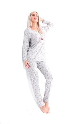 Pijama Denizi Dört Mevsimlik Düğmeli Pijama Takımı Bordo Çiçek Desen Gri Pamuk 2