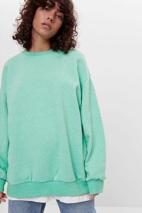 Bershka Kadın Yeşil Oversize Sweatshirt 2