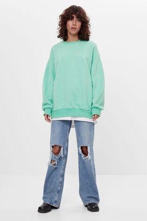 Bershka Kadın Yeşil Oversize Sweatshirt 3