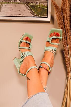Limoya Kadın Su Yeşili Örgü Detaylı Topuklu Sandalet 3