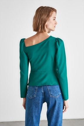 TRENDYOLMİLLA Zümrüt Yeşili Düğme Detaylı Bluz TWOAW21BZ0958 4