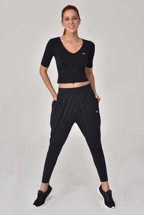 bilcee Siyah Kadın Yoga T-Shırt GS-8105 2
