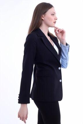 Kadın Modası Kadın Siyah Yakalı Yanı Kot Garnili Astarlı Ceket 4