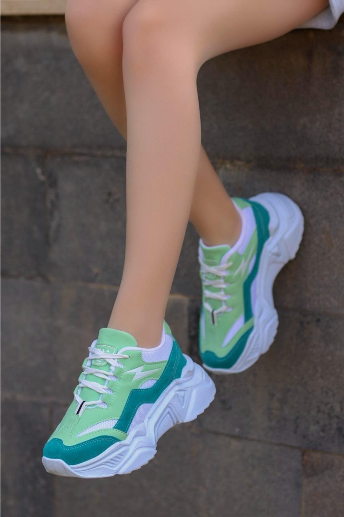 Kadın Yeşil Beyaz Bağlı Kalın Taban Sneaker