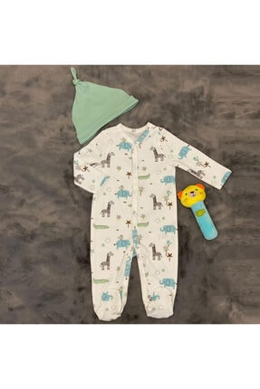 PİEROSBABY Pieros Baby 0071 Erkek Bebek 2'li Tulum Şapkalı 1