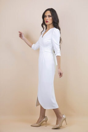 Ayhan Kadın Beyaz Kruvaze Bağlamalı Elbise 1